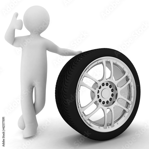 Man advertises car service on a white background