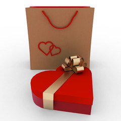 box as heart form with gold bow  and bag for gift