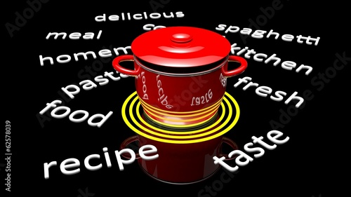 Red pot with various cooking related text around it.