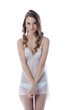 Modest long-haired model advertises negligee