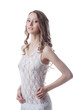 Shot of charming long-haired girl in lace negligee