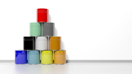 Stacked cans with paint on the floor