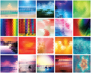 Collection of 20 abstract triangles backgrounds, pattern design