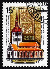 Postage stamp Russia 1990 Niguliste Church, Tallinn, Estonia
