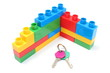 Wall of plastic building blocks with home keys