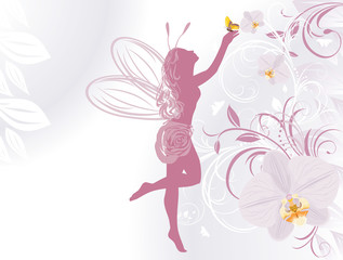 Fairy and butterfly on a decorative background with orchids
