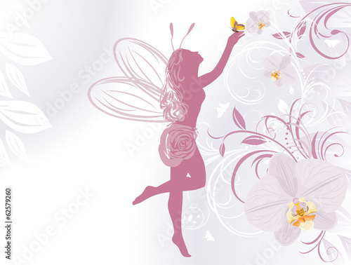 Fototapeta Fairy and butterfly on a decorative background with orchids
