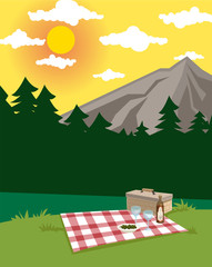 picnic in a beautiful landscape, wine glasses and basket