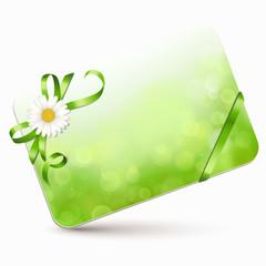 Bokeh Karte mit grüner u. Margeritenblüte