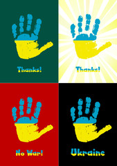 Child's handprint, paint the flag of Ukraine, vector
