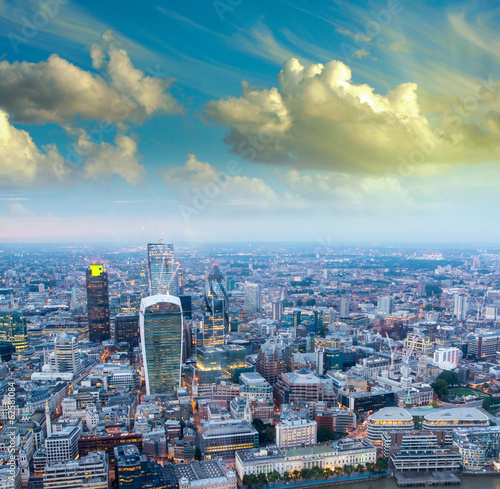 London. Night skyline of financial district