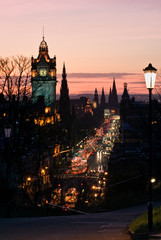 Edinburgh with Clock Tower from Calton Hill at dusk Scotland UK