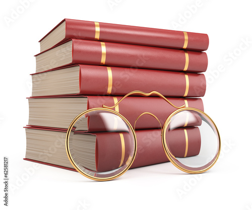 Stack of books and glasses