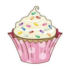 Vanilla Cupcake Icing Rainbow Sprinkles