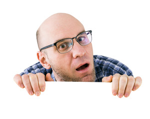 curious man with glasses