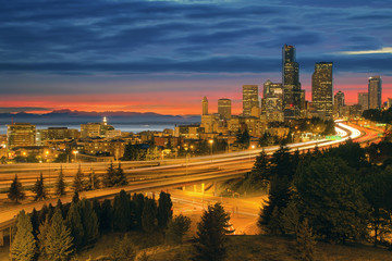 Seattle Cityscape After Sunset