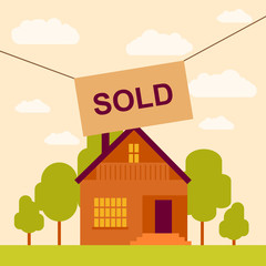 vector illustration of sold house