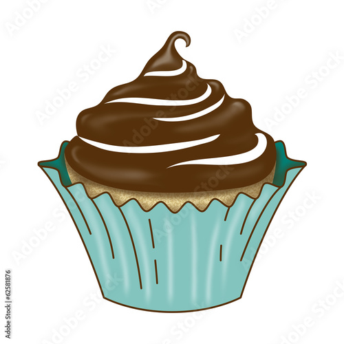 Vanilla Cupcake with Dark Chocolate Icing