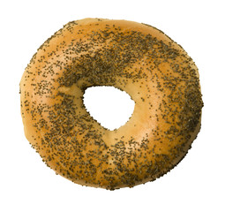 Poppy Seed Bagel Against White