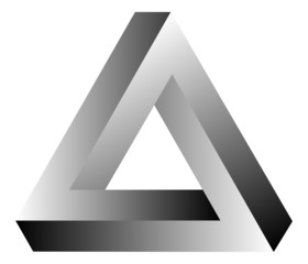 Impossible Triangle Of Tribar Optical Illusion Vector