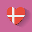 Heart-shaped icon with flag of Denmark
