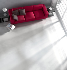 Sofa im Wohnraum in Vogelperspektive 2