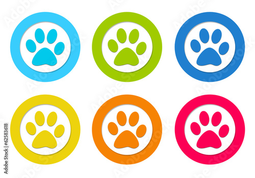 Set of rounded icons with pet footprints symbol