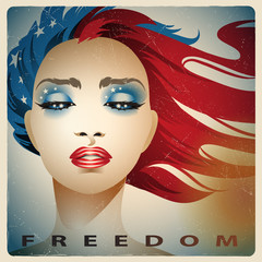 Vintage style girl with colors of the United States flag