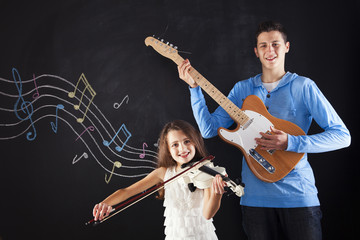 Brother and sister making music