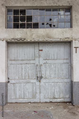 old wood door at a warehouse building 2