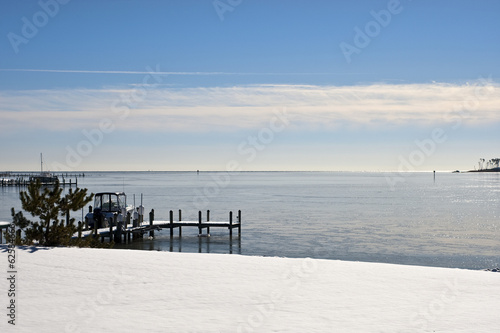 Winter snow covered shore