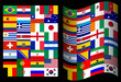 Flags of participating countries at the World Cup in Brazil on a