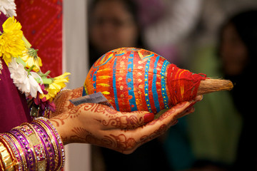 Beautifully decorated Hindu Gujarati wedding coconuts