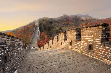 Great Wall of China in Autumn during sunset