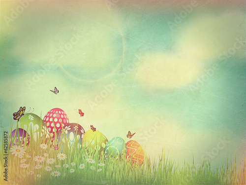 Vintage Easter Egg background with retro effect