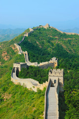 Great Wall of China in Summer with blue sky