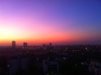 beautiful sky of dawn in a city