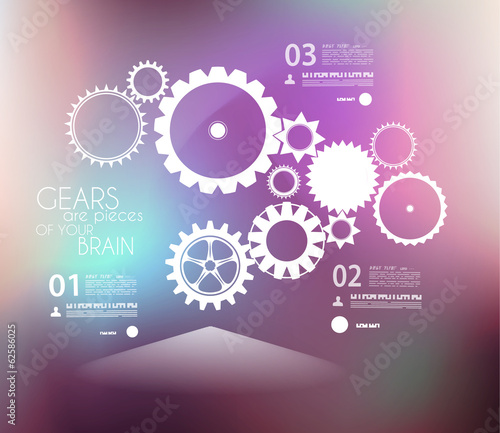 Infographic design template with gears.