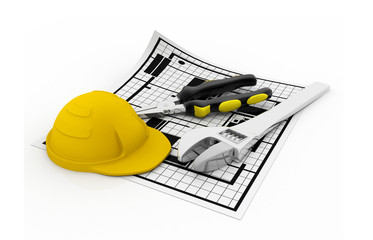 Construction plans with hard hat and tools
