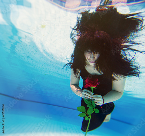 Beautiful young Asian woman under water