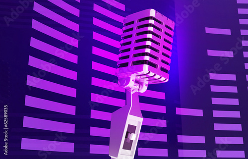 single retro microphone colourful music background