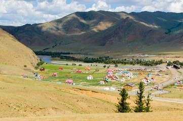 Mongolian countryside landscape with colorful houses
