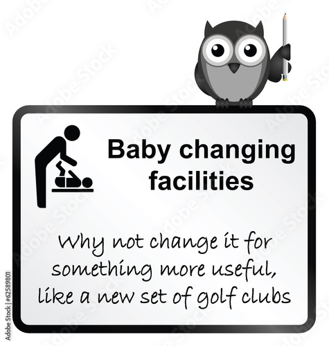 comical baby changing facilities sign