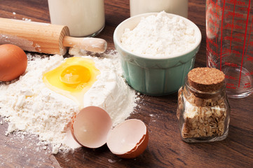 Preparing dough with oats, eggs and flour