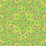 Paisley fabric seamless  pattern.Oriental motif.Green colors