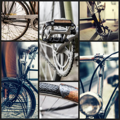 A collage of eight bicycle photos