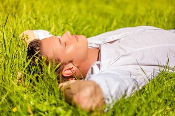 dreaming man meadow