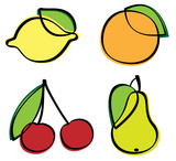 Collection of fruits with leaf