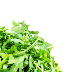 Arugula salad  isolated on white background close up. Heap of fr