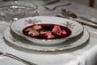 Red borscht with mushroom ravioli